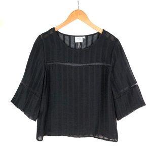 Anthro HD Paris black sheer stripe top blouse 6
